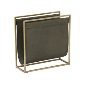 image-Hatton Magazine Holder, Laguna Matt Leather and Antique Brass