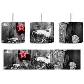 image-Festive Windowsill 1-Light Drum Pendant East Urban Home Shade Colour: Black/White/Red