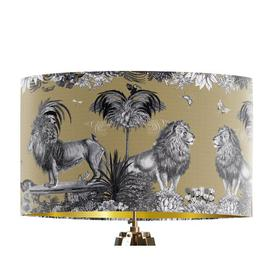 image-Classical Jungle Lion 45cm Cotton Drum Table Lamp Shade Bloomsbury Market Colour: Gold