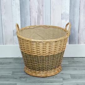 image-Round Mixed Willow Log Wicker Basket Brambly Cottage