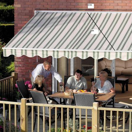 image-Greenhurst Ascot 2.5m Easy Fit Awning Green and Beige