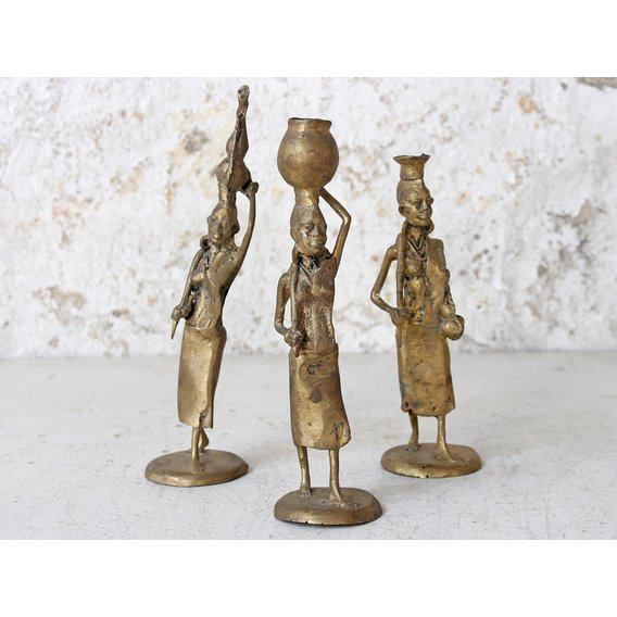 image-Small Bronze African Woman Statue  Small