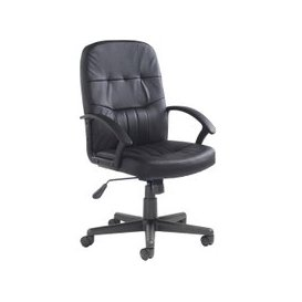 image-York High Back Leather Faced Executive Chair, Black, Free Delivered & Fully Installed Delivery