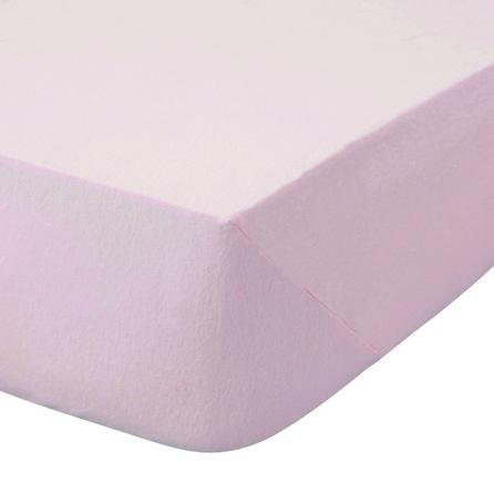 image-Kids Non Iron Plain Dye Pale Pink Cot Bed Fitted Sheet Pale Pink