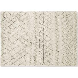 image-Ayla Luxury Moroccan Style Wool Berber Rug, Large 160 x 230cm, Off White