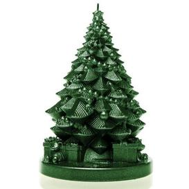 image-Xmas Tree with Gifts Unscented Novelty Candle Candellana Colour: Green Metallic
