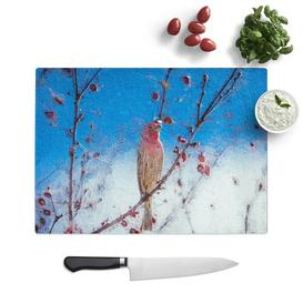 image-Glass House Finch Bird Chopping Board East Urban Home Size: 39 cm W x 28.5 cm L