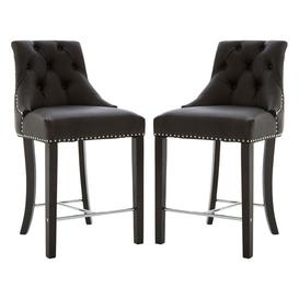 image-Trento Park Black Faux Leather Bar Chairs In Pair