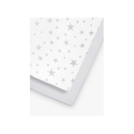 image-Sn├╝z Baby Star Cot/Cotbed Fitted Sheets, 2 Piece Set, White/Grey