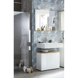 image-Esquivel 2 Piece Bathroom Storage Furniture Set with Mirror Ebern Designs Colour: White/Navarre replica oak wood