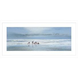 image-Busy Day at the Beach Framed Print Blue