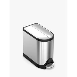 image-simplehuman Butterfly Pedal Bathroom Bin, Stainless Steel, 9L