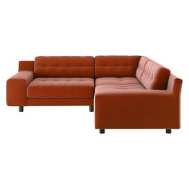 image-Hendricks Orange Velvet FaBric Small Left-Hand Corner Sofa, Orange