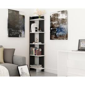 image-Lynnfield Corner Bookcase Zipcode Design Colour: Black/White, Size: 170.18cm H x 45.72cm W x 22.86cm D