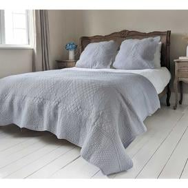 image-French Grey Cotton Quilted Bedspread & Pillow Sham Set - Classic...