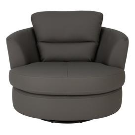 image-Argos Home New Trieste Leather Mix Swivel Chair - Grey