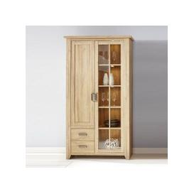 image-Berger Glass Display Cabinet In Rustic Oak With 2 Doors And LED