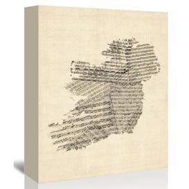 image-Old Sheet Music Map of Ireland Graphic Art on Wrapped Canvas Americanflat Size: 60cm H x 40cm W