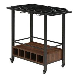 image-Moshe Serving Cart Langely Street Top Colour: Black Faux