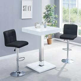 image-Topaz Glass Bar Table In White Gloss With 2 Coco Black Stools