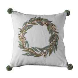 image-Pom Pom Wreath Cream Cushion