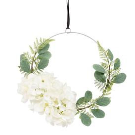 image-Artificial Leaf and Flower Wreath Wall Art D31