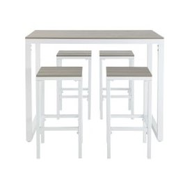 image-Aluminium Garden Bar Table with 4 Stools L128 Escale