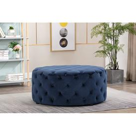 image-Oneil Cocktail Ottoman Willa Arlo Interiors Upholstery Colour: Navy Blue