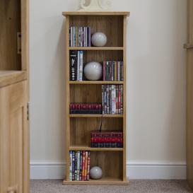 image-Marseille Solid Oak CD/DVD Storage Tower / Small Bookcase