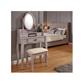 image-Lumberton Dressing Table Grey & Pine 3 Drawer With Stool
