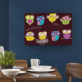 image-Crazy Owls for Children Wall Art on Canvas East Urban Home Size: 80 cm H x 120 cm W