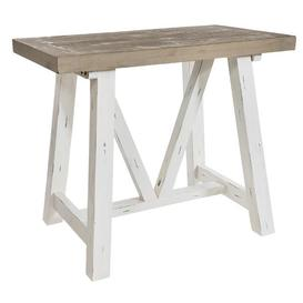 image-Rowico Purbeck Distressed White Bar Table