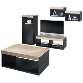"image-Pure Entertainment Unit for TVs up to 55"" with Coffee Table Vladon Colour: Black/Wooden Brown, Built In Lighting: No, Plug Type: No Plug"
