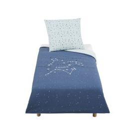 image-Children's Navy Blue Print Cotton Bedding Set 140x200