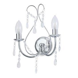 image-SPA 2 Light Bathroom Chandelier Wall Light -Glass and Chrome