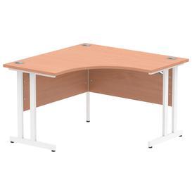 image-Vitali C-Leg Corner Desk (White Legs), Beech
