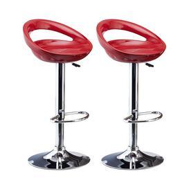 image-Berndt Adjustable Bar Stool Set Metro Lane Seat colour: Red