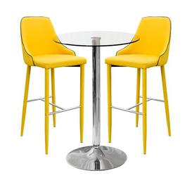 image-Spacek Dining Set with 2 Chairs Ebern Designs Table Size: H90 x L60 x W60cm, Colour (Chair): Yellow