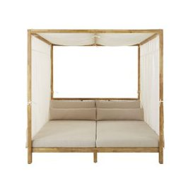 image-Resin Wicker and Light Taupe Canvas Outdoor 4-Poster Bed Maupiti
