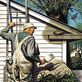 image-'House Painter and Bird's Nest' by Stevan Dohanos - Wrapped Canvas Painting Print August Grove Size: 81 cm H x 81 cm W