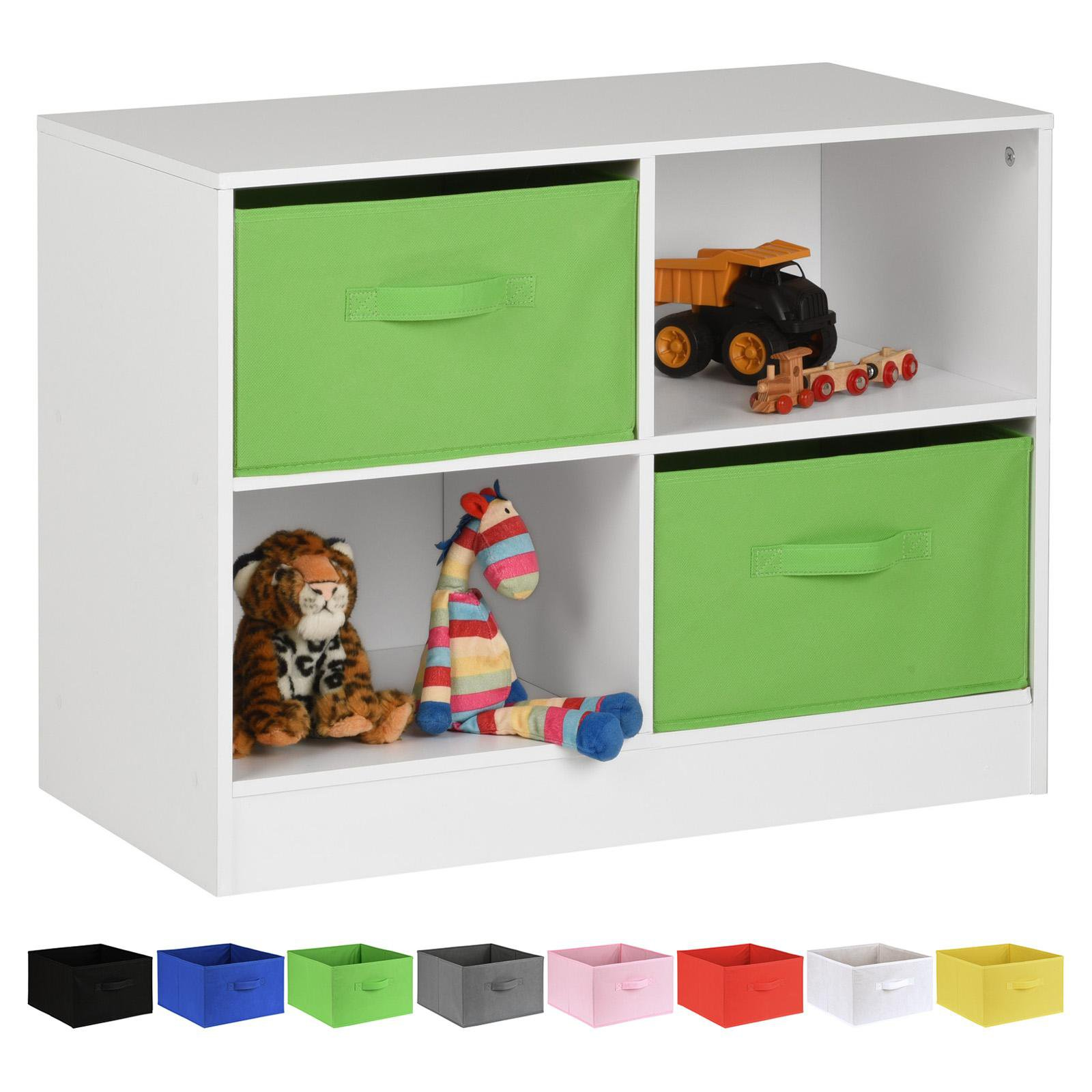 image-Hartleys White 4 Cube Kids Storage Unit & 2 Handled Box Drawers - Green