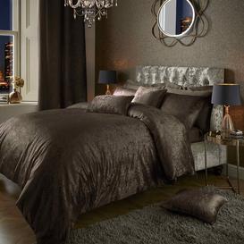 image-Loren Crushed Velvet Duvet Cover Set Rosdorf Park Size: Super King - 2 Standard Pillowcases, Colour: Brown