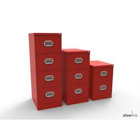 image-Foolscap Steel 3 Drawer Filing Cabinet Symple Stuff Colour: Red