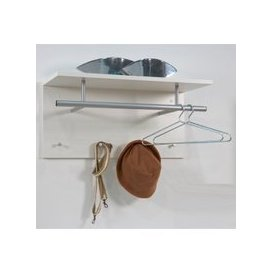 image-Spot Wall Mounted Coat Rack In White with Shelf