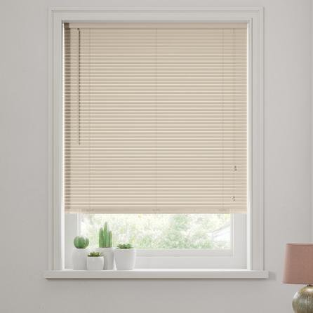 image-Cream Wooden Venetian Blind 27mm Slats Cream