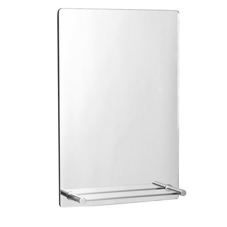 image-Manhattan Mirror with Shelf Satin Nickel (Silver)