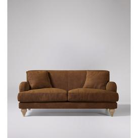 image-Swoon Chorley Two-Seater Sofa in Brown Smart Leather With Short Light Feet