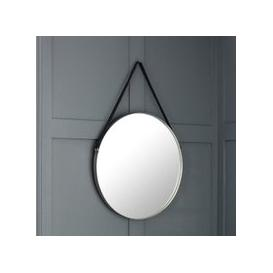image-Opera Round Pewter Mirror With Black Strap