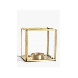 image-John Lewis & Partners Brass Cube Candle Holder