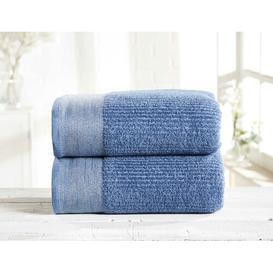 image-Beck 2 Piece Bath Sheet Bale Marlow Home Co. Colour: Denim/Silver
